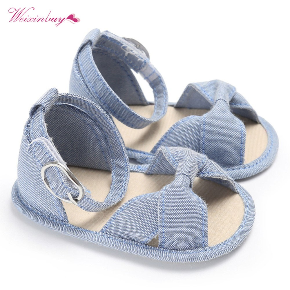 Summer Baby Shoes Toddler Newborn Baby Girls Buckle Strap Bow Soft Crib Shoes Cotton Sneakers 0-18 Months