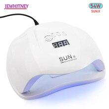 Sunx 54 w secador de unhas uv conduziu a lâmpada display lcd 36 leds lâmpada secador para cura gel polonês detecção automático unha secagem manicure ferramenta