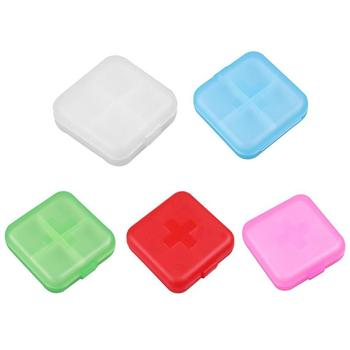 Portable 4 Grids Pill Box Drug Tablet Medicine Storage Holder Splitter Case Storage Organizer Container Case Travel Bill Box image