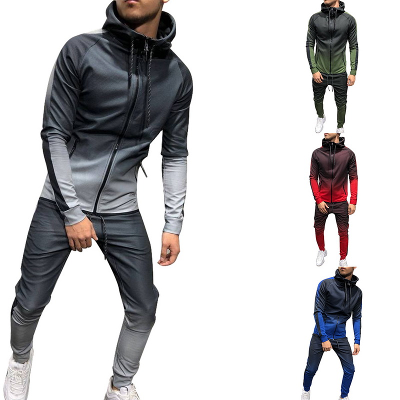 Men 2 Pcs Sets Tracksuit Sportwear Hoodies Jackets&Sweatpants Autumn Winter Pants Hoodies Coat Casual Gradient Male Joggers Suit