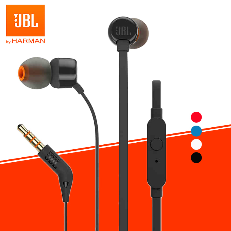 JBL TUNE 110 3 5mm Wired Earphones T110 Stereo Music Deep Bass Earbuds Sports Headset In-line Control Handsfree with Microphone