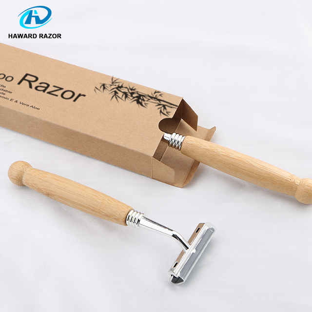 HAWARD Razor Eco Friendly Bamboo Handle Twin Blade Razor Hair Removal Travel Razor Replaceable Razor Head Blade Cartridge 5