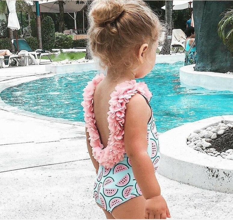 Backless Girls Beachwear One-Piece Suits Toddler Infant Baby Girls Watermelon Swimsuit 3D Flower Swimwear Swimming Bikini