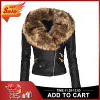 faux fur leather Jacket Women hoodies Winter Autumn Motorcycle Jacket Black Outerwear faux leather PU Jacket 2019 Coat HOT