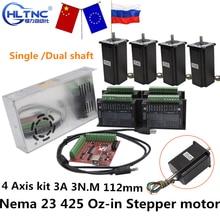 Рус корабль CNC маршрутизатор 4 оси комплект 3A 3N.M Nema 23 425 Oz-in шаговый двигатель TB6600 Драйвер + 350 Вт источник питания MACH3 контроллер карты