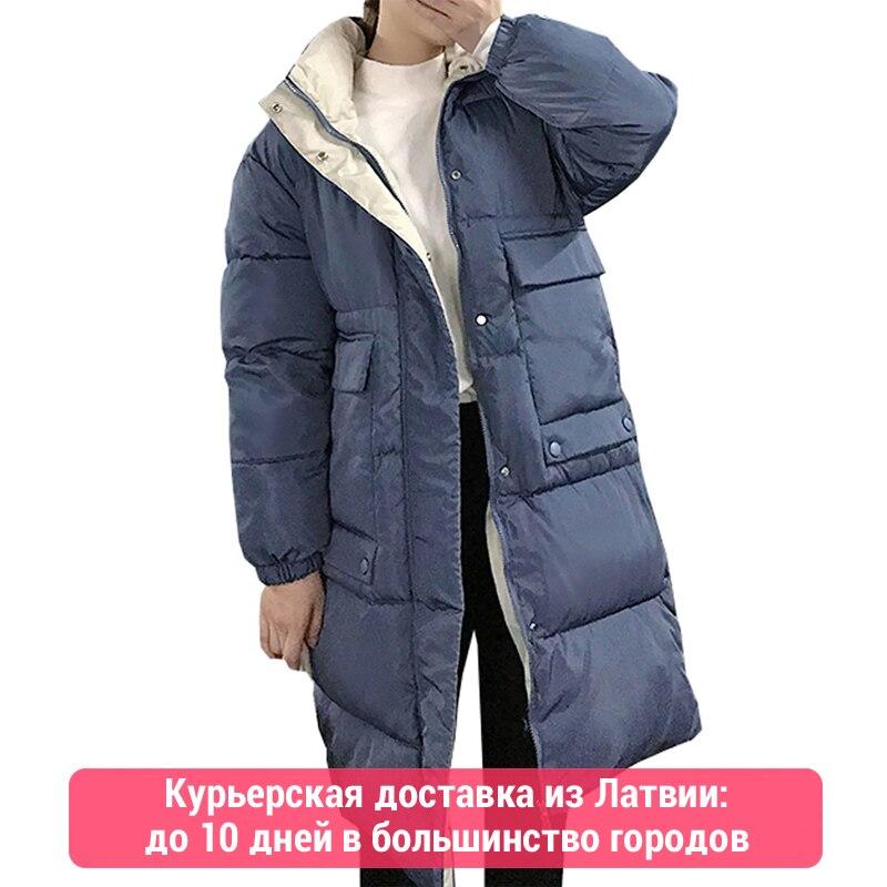 Hooded Ladies Coat Long Coats Parka oversize Colour jacket mid-long women winter thick jacket down jacket women winter 813(China)