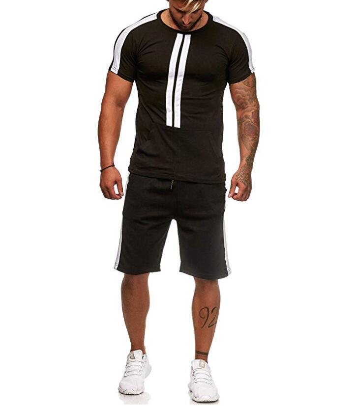 2019 Summer New Products Men Outdoor Sports Casual Contrast Color Cool Pin Tiao Sports Short Sleeve Set T333