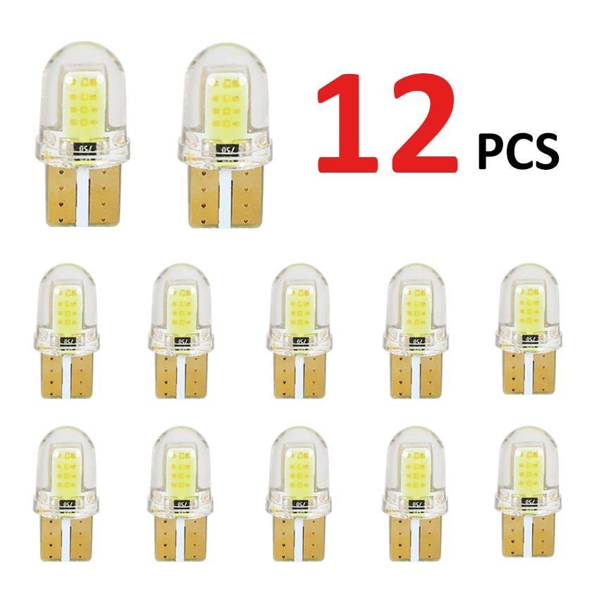 12 шт. силикагель W5W T10 светодиодный 8SMD COB 194 Клин просвет светильник лампы Авто номерные знаки для чтения автомобиля дверь багажника автомоби...
