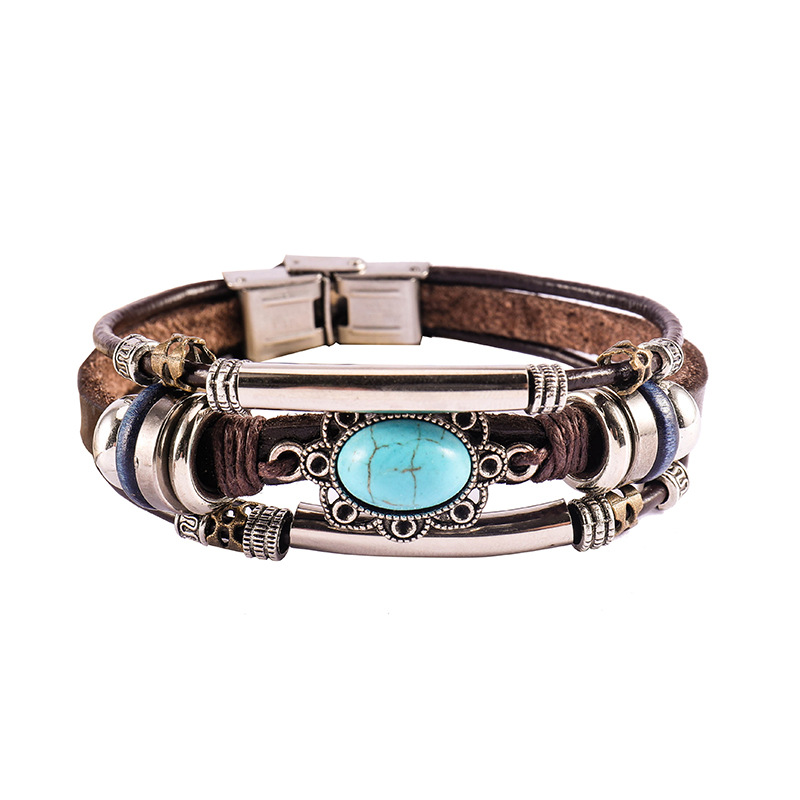 Handmade Boho Gypsy Hippie Brown Leather Bracelet Men Rope Cord Hand Turquoises Charm Stackable Wrap Bracelets for Women Jewelry
