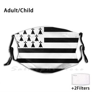 Brittany Flag Funny Print Reusable Pm2.5 Filter Face Mask France Region Country Symbol Sign Identity Nation
