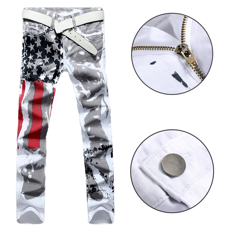 1Pcs Casual Trousers Printing Men's Jeans High Elastic Jeans NEWMen's White American Flag Print Jeans Straight Men's Jeans