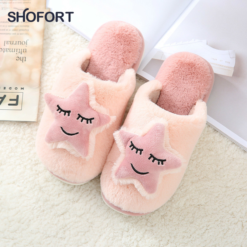 SHOFORT Women Shoes Warm Soft Bottom Cotton House Slippers Couple Winter Household Men Women Cute Non-slip Indoor House Shoes