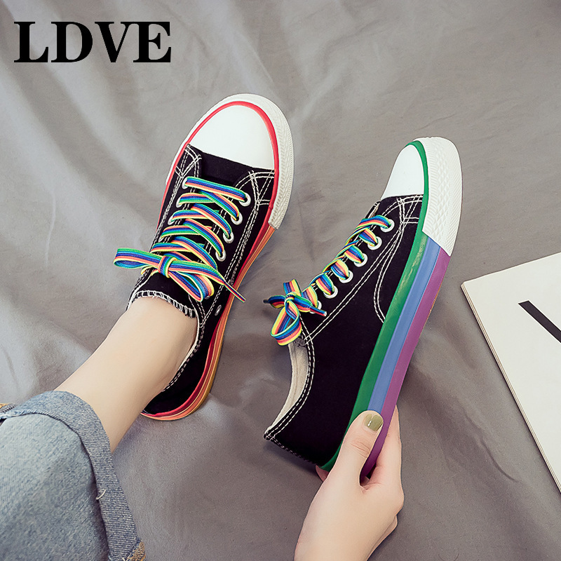 Rainbow Color Women Boys Casual Canvas Shoes Graffiti Starry Students Leisure Shoes Custom Couples Lovers Zapatillas