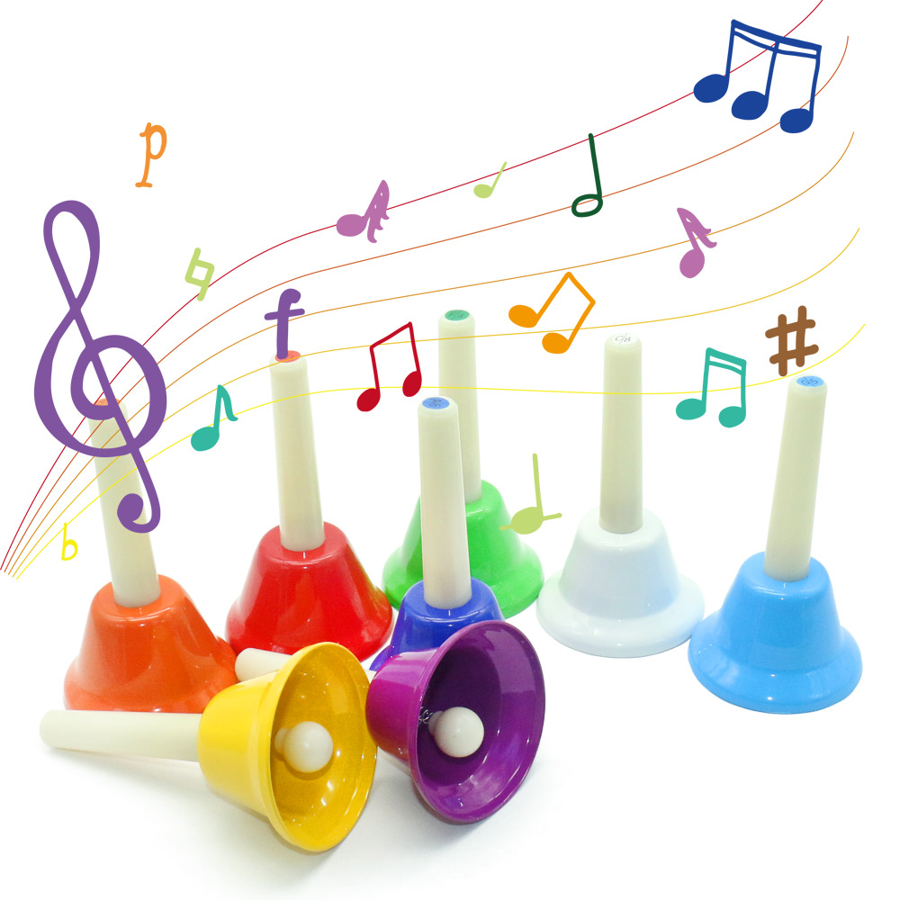 Montessori Musical Material Rhythm Band 8 Note Metal Hand Bells Instrument Teaching Aids Early Learning Educational Toys L1364H