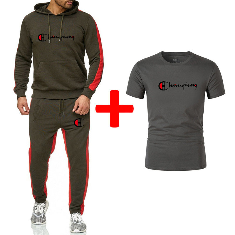 Hot-selling Brand Men's Casual Sports Hooded Suit + Cotton Sweat-absorbent Casual Short-sleeved T-shirt Sports Fitness Suit