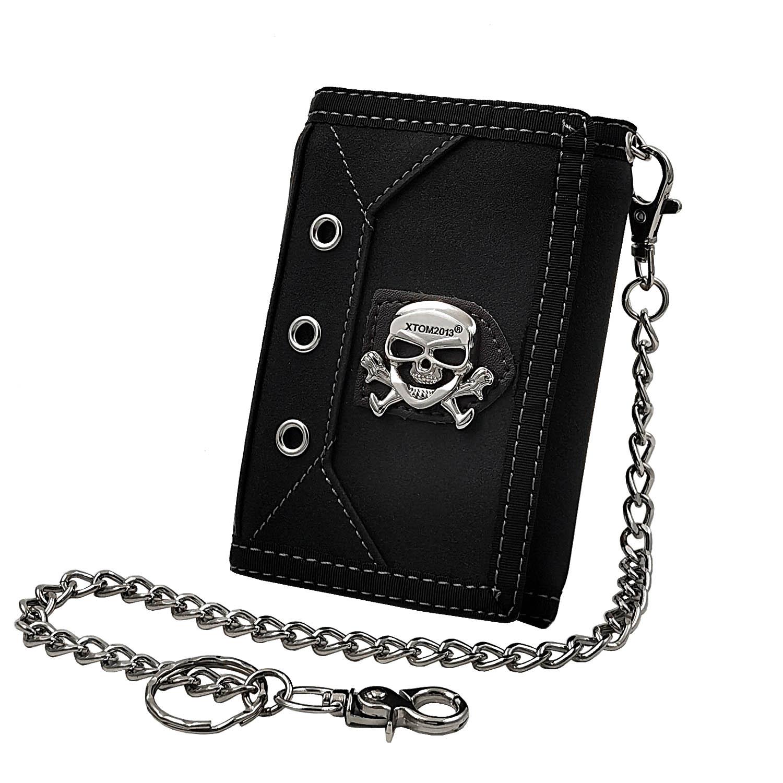 Mini portafoglio da uomo Casual Biker Trifold Pusrse con portachiavi sicuro