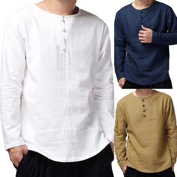 Tradycyjna chińska odzież dla mężczyzn bluzki bluzka strój Tang chiny moda styl przycisk Casual z długim rękawem solidna koszula męska tanie i dobre opinie COTTON Poliester CN (pochodzenie) Czesankowej S M L XL White khaki blue Chinese Top Traditional chinese clothing for men