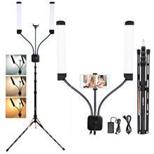 Fosoto – lampe annulaire Led avec support trépied, éclairage à Double bras pour photographie, appareil photo, téléphone, maquillage, Youtube, 3000-6000K