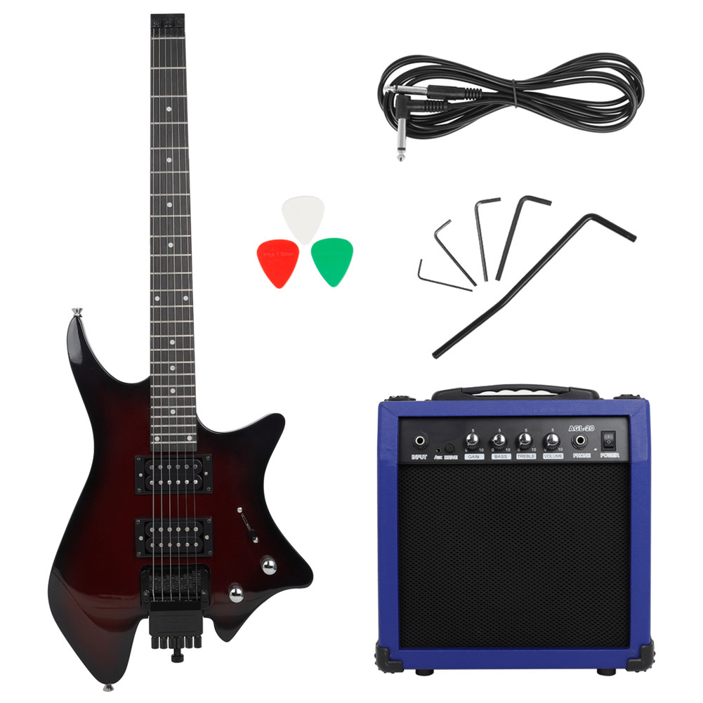 Headless Electric Guitar Hawaiian Guitar Soprano Musical Instruments With Double-row Pickup Speaker Audio Cable Handle Wrench