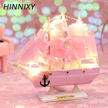 Hinnixy Sailing Boat Night Light Mediterranean Style Decor Pink Blue Stripe Simulation Model Ship Desktop Ornament Birthday Gift