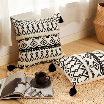 цена на Black Geometric Home Decor Handmade Embroidery Pillow Cover Beige Cushion Cover with Tassels Pillow Case Pillow Sham 30x50cm
