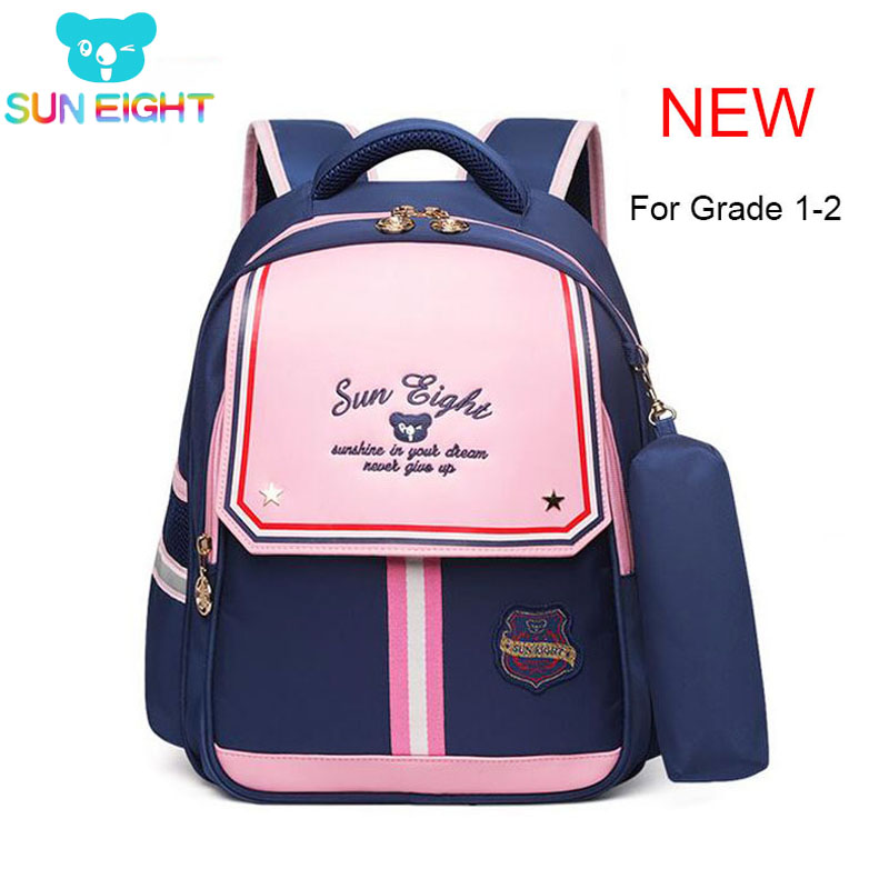 SUN EIGHT NEW Kids Backpacks School Bags For Girl Grade 1-2 School Bags For Kid Light Books Bag Factory Price  2592#