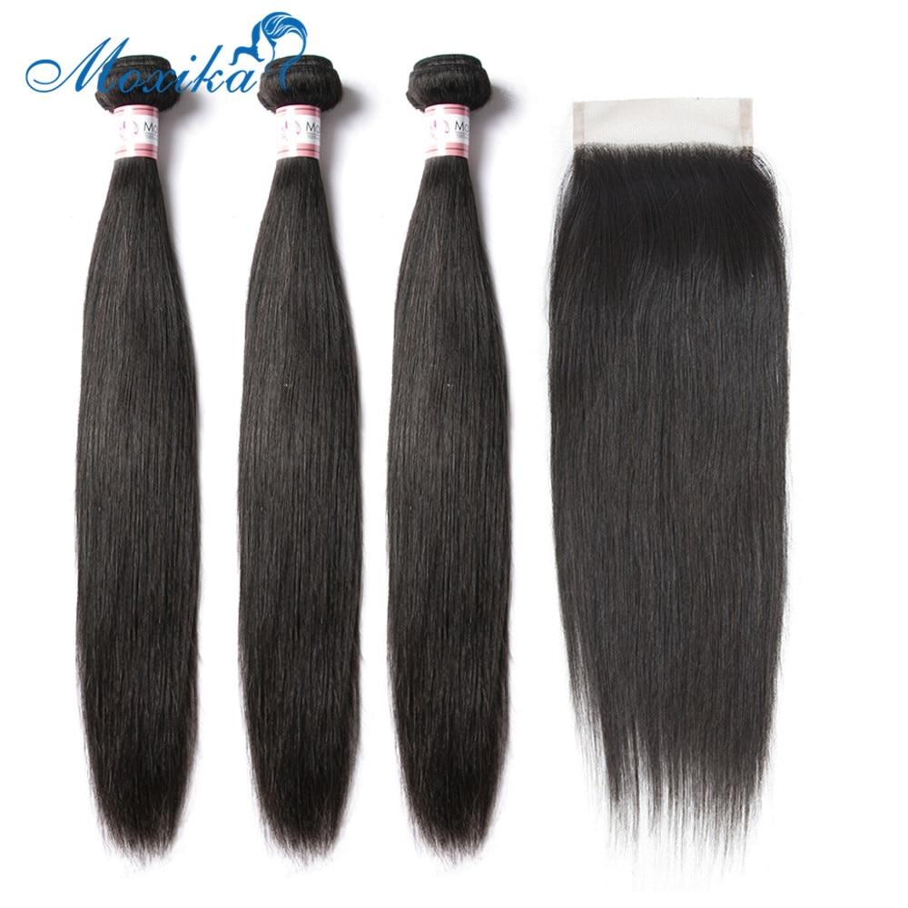 Moxika 100% Peruvain Straight Human Hair Bundles With Closure 3 Bundles L Remy Hair Extensions With Closure Natural Hair Line