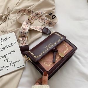 Image 2 - Contraste cor couro crossbody sacos para as mulheres 2020 bolsa de viagem moda simples ombro saco do mensageiro senhoras cruz corpo saco