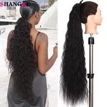 Grampo longo ondulado da extensão do cabelo do rabo de cavalo das mulheres de shangke no envoltório da cauda do pônei em torno da fibra sintética loira preta resistente ao calor