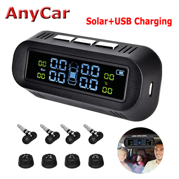 Solar Power TPMS Car Tire Pressure Alarm Monitor System Auto Security Alarm Systems Tyre Pressure Temperature Warning цена 2017