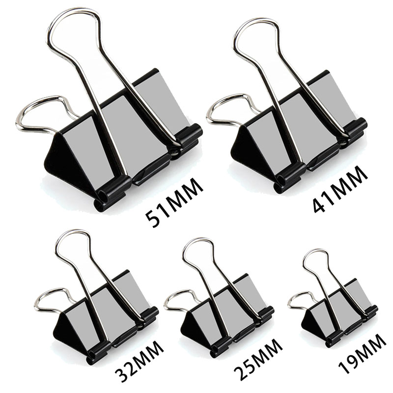 5PCS Paper Clip 19 25 32 41 51 Mm Foldback Metal Binder Clips Black Grip Clamps Office School Stationery Paper Document Clips