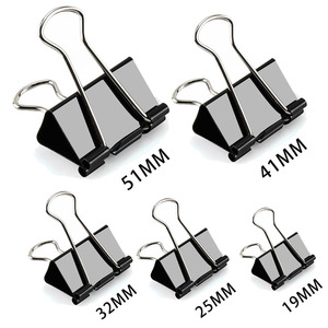 5PCS Paper Clip 19 25 32 41 51 Mm Foldback Metal Binder Clips Black Grip Clamps Office School Stationery Paper Document Clips(China)