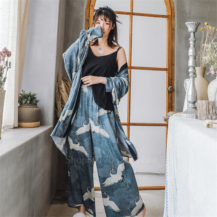Ukiyo-e Japanese Kimono Dress Women Crane Vinatge Yukata 3PCs Coat+Top+Pants Pajamas Suit Haori Samurai Harajuku Asian Clothes