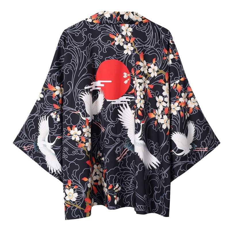 Samurai Haori cardigan japonés Ukiyo e Cardigan Harajuku Kimono ropa tradicional dragón asiático Yukata hombres mujeres chaqueta suelta