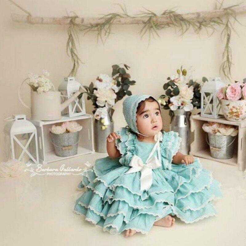2019 Summer New Arrivals Spain Girls Customized Princess Dress Girl's Birthday Quality Cotton Dress Children'day Party Dress Set