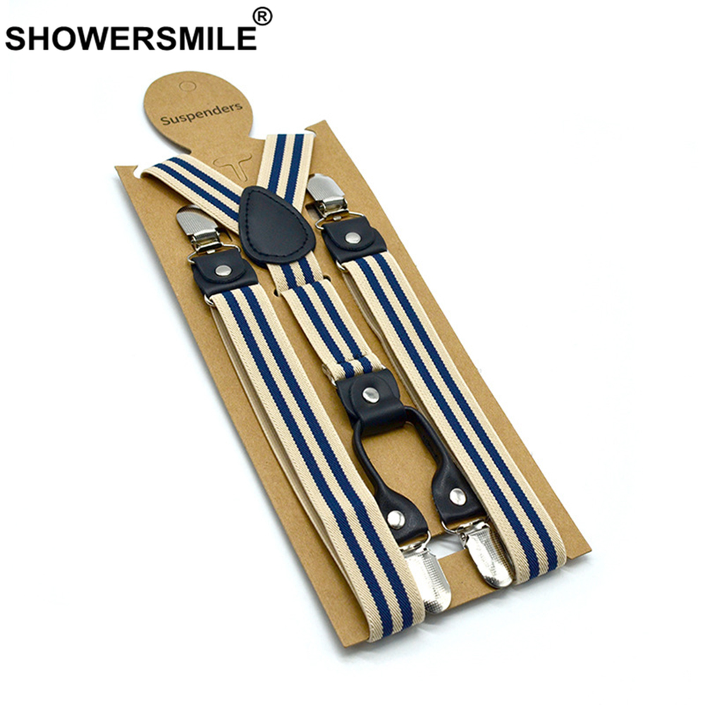 SHOWERSMILE Striped Suspenders Men Beige Shirt Belt 4 Clips Y Back Mens Trousers Suspenders Braces Male Pants Strap 2.5cm*120cm