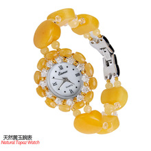 2020 New Real Authentic Yellow Lady Wrist Watch Automatic Quartz Natural Jade Crystal Decoration Strap Joker noble lady crystal quartz wrist watch white strap