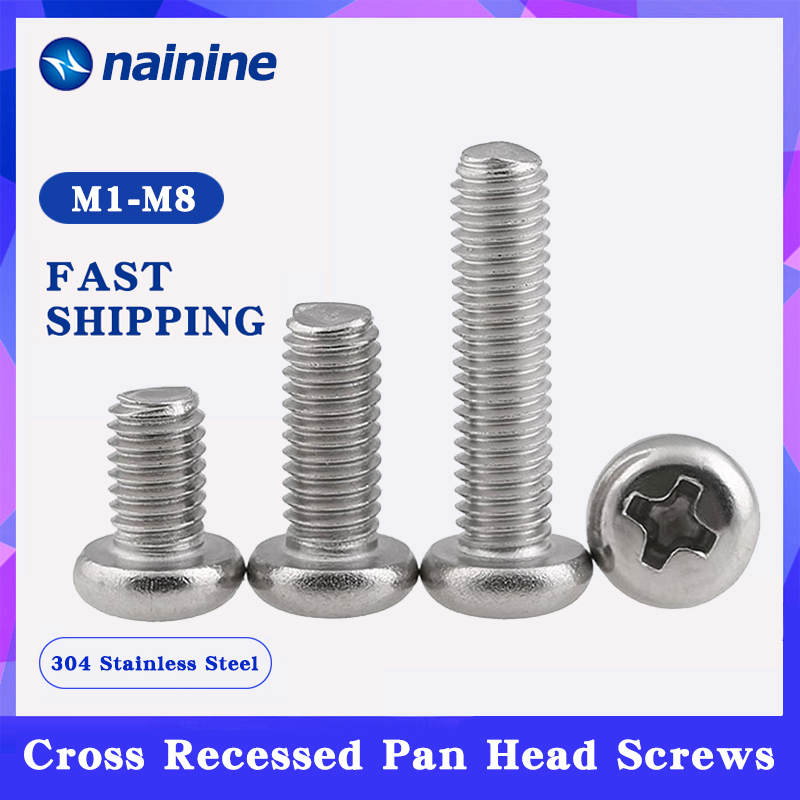 ISO7045 DIN7985 GB818 M1-M10 304 Stainless Steel Cross Recessed Pan Head PM Screws Phillips HW002