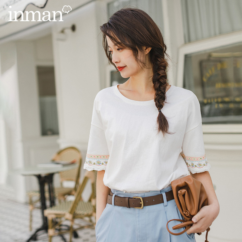 INMAN 2020 Spring New Arrival Literary Cotton All-match Grilish Embroidered Splicing Lace Medium Sleeve T-shirt