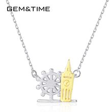 Gem&Time Retro Rudder Big Ben Pendant Necklace Sterling Silver 925 Choker Necklace For Women Punk Jewelry Gift Collares SN0357(China)