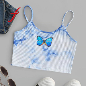 Feitong Women Tie Dye Butterfly Print Crop Top Camis Vest Tops Sleeveless Pullover Vest Tank Crop Tops Shirts Cropped Feminino