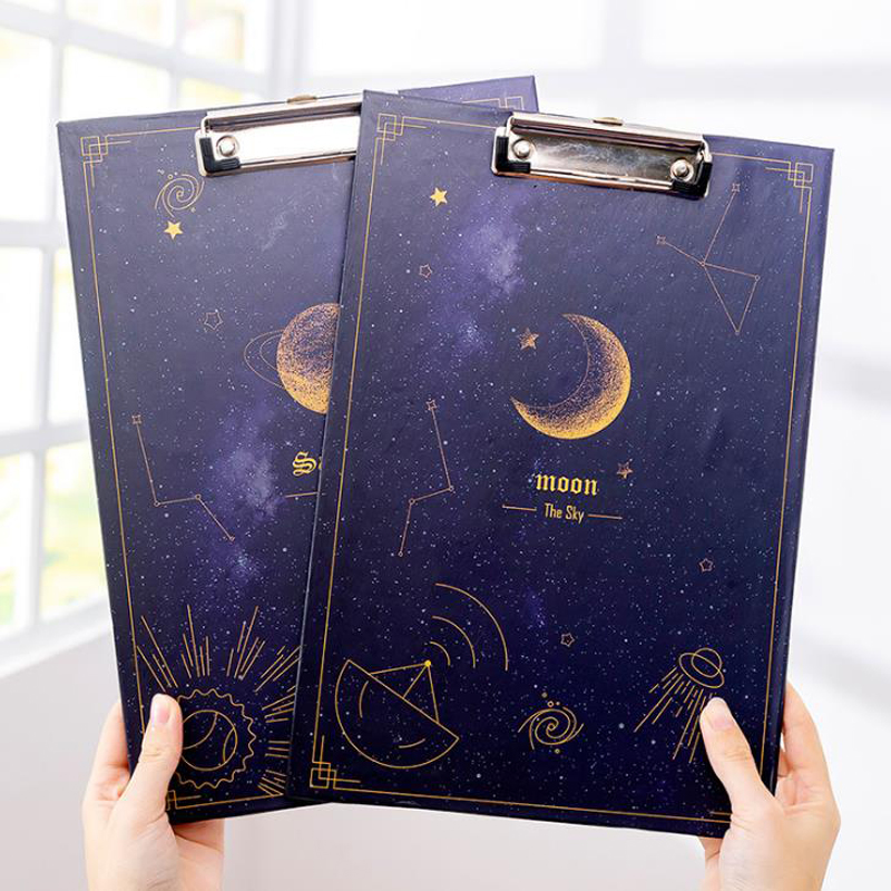 1 Pcs Lovely A4 Gilding Starry Sky Astronaut Rocket Moon Paper Document File Folder With Elastic Clip Board Stationery Gifts