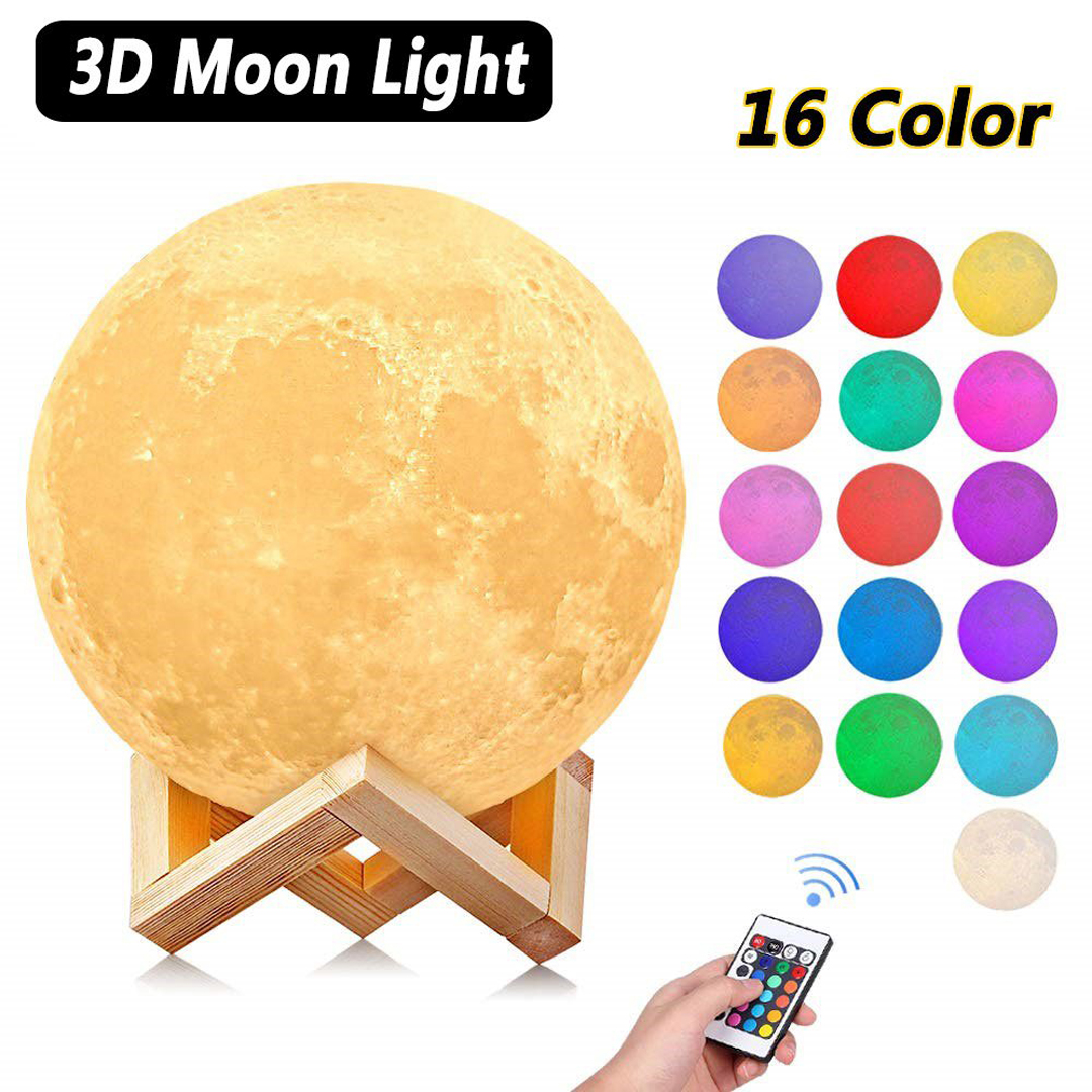 Moon Lamp Night Light 3D Print Moonlight LED Dimmable Touch/Remote Control Rechargeable Bedside Table Desk Lamp 8/15cm