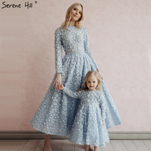 Новейший дизайн, синие Кристальные платья для выпускного вечера с цветами в мусульманском стиле с длинным рукавом, модные платья для выпускного вечера Serene hilm BLA60905