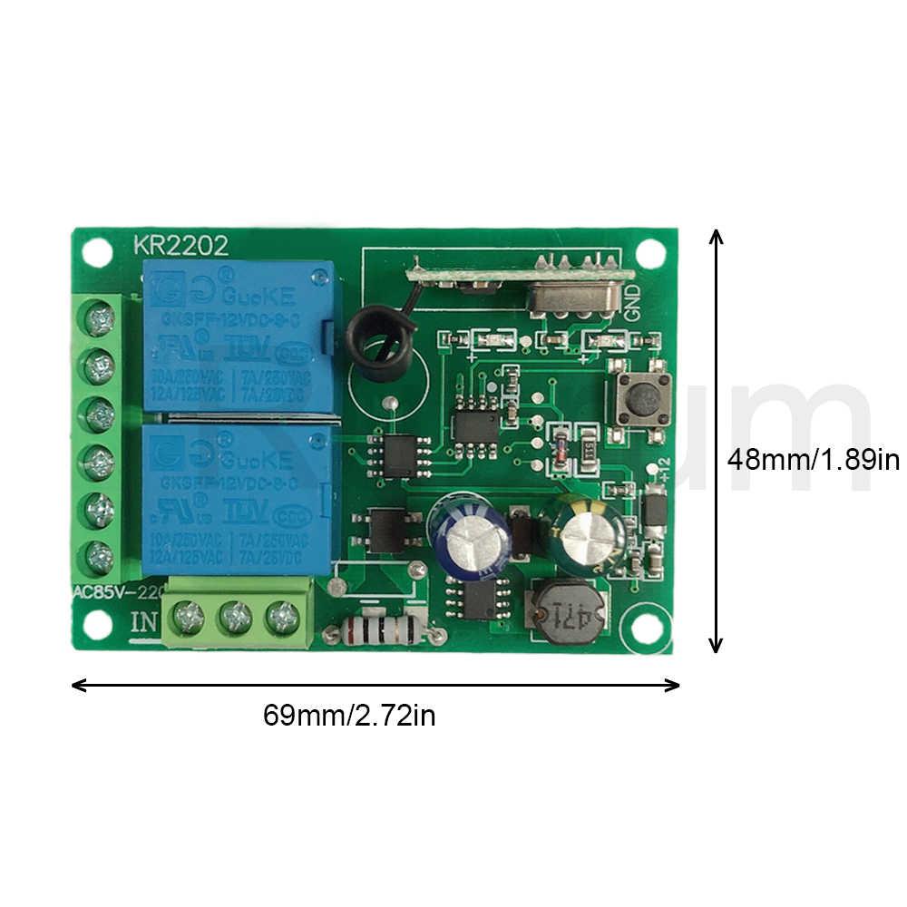 مفتاح تحكم عن بعد بتردد 433 ميجا هرتز بتيار متردد 110 فولت 220 فولت 2CH RF + جهاز استقبال مرحل RF عالمي لفتح باب المرآب الخفيف