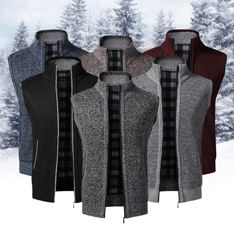 2020 Autumn Winter Men Sweater Coat Warm Sleeveless Zipper Cardigan Men Knitted Vest Sweatercoat Casual Plaid Knitwear
