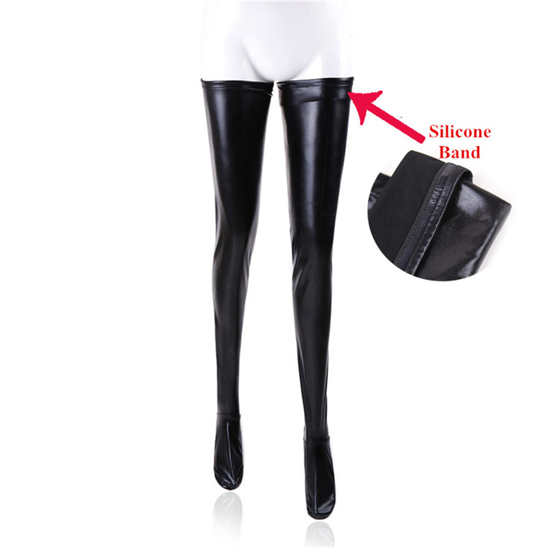 S-2XL Large Size Black Leather Stockings Pole Dance Sexy Medias Silicone Band Knee High Stockings Sexy Lingerie Latex Clubwear