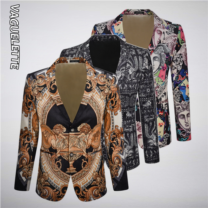 VAGUELETTE Elegant Pattern Blazer For Men Stage Party Dress Suit Jacket Coats Luxury Print Men Blazers Slim Fit Wedding Clothing