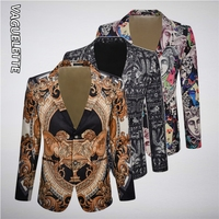 VAGUELETTE Elegant Pattern Blazer For Men Stage Party Dress Suit Jacket Coats Luxury Print Men Blazers Slim Fit Wedding Clothing