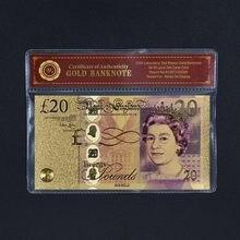 WR-billetes falsos dorados con marco de plástico, billetes de plata, de Reino Unido, regalo de recuerdo